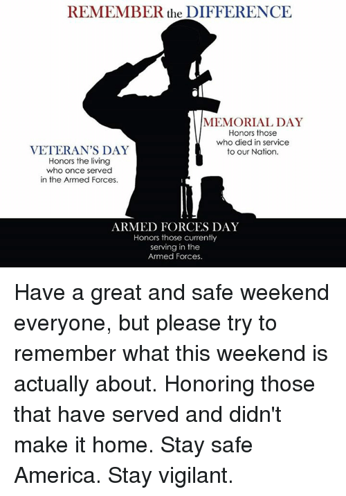 REMEMBER the DIFFERENCE MEMORIAL DAY Honors Those Who Died ...