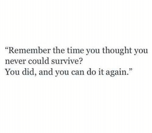 "Do It Again, Time, and Never: ""Remember the time you thought you  never could survive?  You did, and you can do it again.  52"