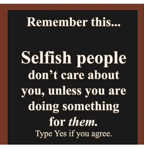 selfish person