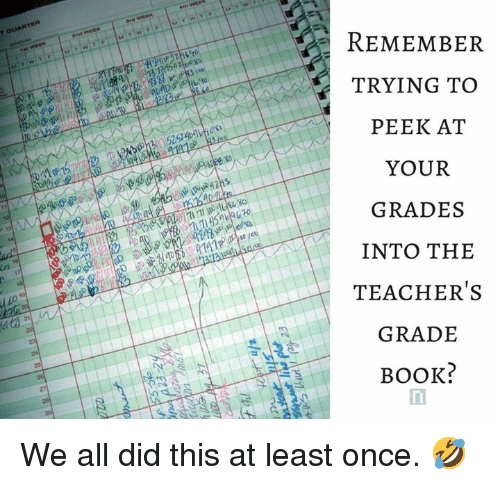 remember trying to peek at your grades into the teachers grade book