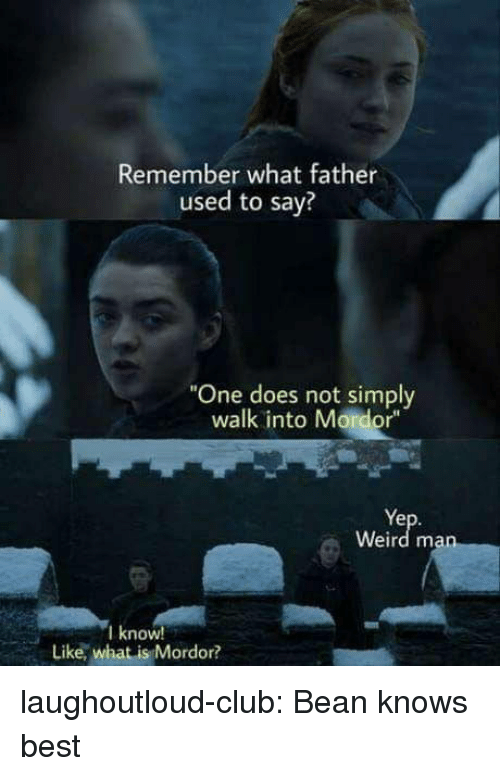 """Club, Tumblr, and Weird: Remember what father  used to say?  """"One does not simply  walk into Mordor""""  Ye  Weird man  I know  Like, what is Mordor? laughoutloud-club:  Bean knows best"""