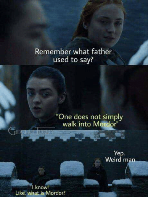 """Weird, What Is, and One: Remember what father  used to say?  """"One does not simply  walk into Mordor""""  GogaeRON  Yep.  Weird man  I know!  Like, what is Mordor?"""