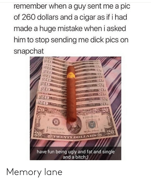 Bitch, Dick Pics, and Snapchat: remember when a guy sent me a pic  of 260 dollars a  made a huge mistake when i asked  him to stop sending me dick pics on  snapchat  nd a cigar as if i had  1094 0613 J  2  2  8109406153  2  2  have fun being ugly and fat and single  and a bitch;) Memory lane