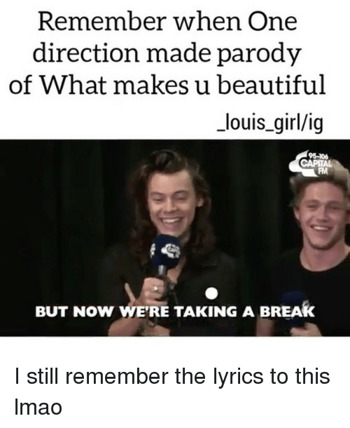 Beautiful, Lmao, and Memes: Remember when One  direction made parody  of What makes u beautiful  _louis_girl/ig  95-106  FM  BUT NOW WE'RE TAKING A BREAK I still remember the lyrics to this lmao