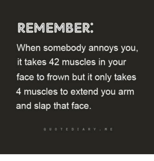 Dank, 🤖, and Arms: REMEMBER  When somebody annoys you  it takes 42 muscles in your  face to frown but it only takes  4 muscles to extend you arm  and slap that face  Q U O T E D I A R Y  M E