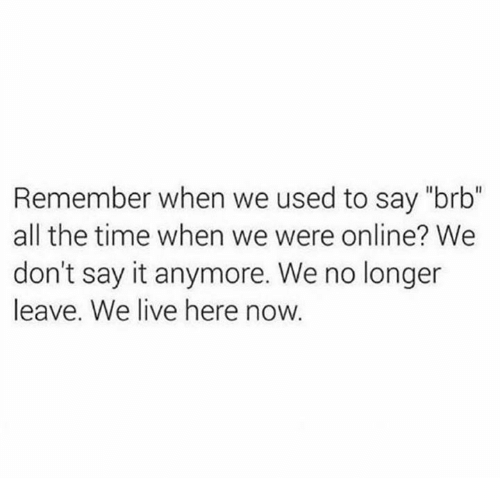 "Dank, Say It, and Live: Remember when we used to say ""brb""  all the time when we were online? We  don't say it anymore. We no longer  leave. We live here now"