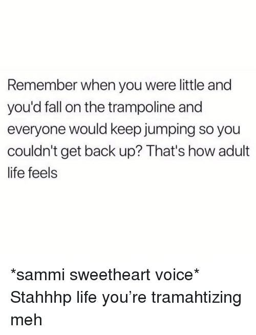 Fall, Life, and Meh: Remember when you were little and  you'd fall on the trampoline and  everyone would keep jumping so you  couldn't get back up? That's how adult  life feels *sammi sweetheart voice* Stahhhp life you're tramahtizing meh