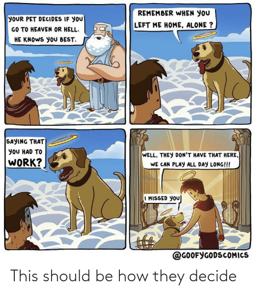 Being Alone, Heaven, and Home Alone: REMEMBER WHEN YOU  YOUR PET DECIDES IF YOU  GO TO HEAVEN OR HELL.  HE KNOWS yoU BEST.  LEFT ME HOME, ALONE ?  SAYING THAT  yOU HAD TO  WELL, THEY DON'T HAVE THAT HERE,  WORK?  WE CAN PLAY ALL DAY LONG!!!  I MISSED YOU  @GOOFYGODSCOMICS This should be how they decide