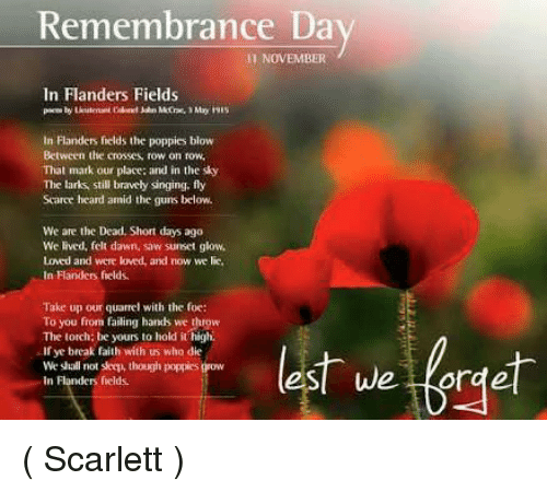 Remembrance Day Short Quotes: Remembrance Da 11 NOVEMBER In Flanders Fields In Flanders