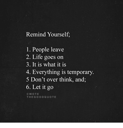 Remind Yourself 1 People Leave 2 Life Goes On 3 It Is What It Is 4