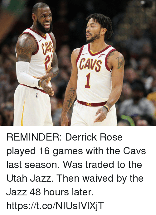 brand new 7b0e2 82999 REMINDER Derrick Rose Played 16 Games With the Cavs Last ...