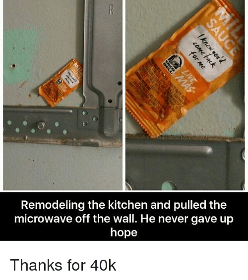 Memes, Hope, and Never: Remodeling the kitchen and pulled the  microwave off the wall. He never gave up  hope Thanks for 40k