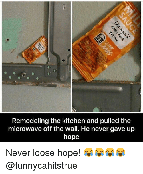 Memes, Hope, and Never: Remodeling the kitchen and pulled the  microwave off the wall. He never gave up  hope Never loose hope! 😂😂😂😂 @funnycahitstrue