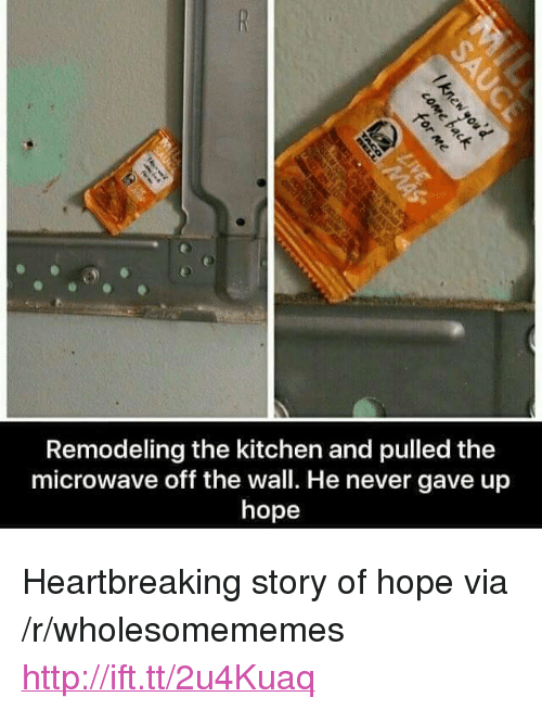 """Http, Hope, and Never: Remodeling the kitchen and pulled the  microwave off the wall. He never gave up  hope <p>Heartbreaking story of hope via /r/wholesomememes <a href=""""http://ift.tt/2u4Kuaq"""">http://ift.tt/2u4Kuaq</a></p>"""
