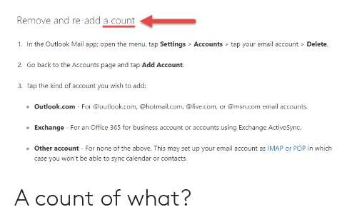 Remove and Re-Add a Count 1 in the Outlook Mail App Open the Menu