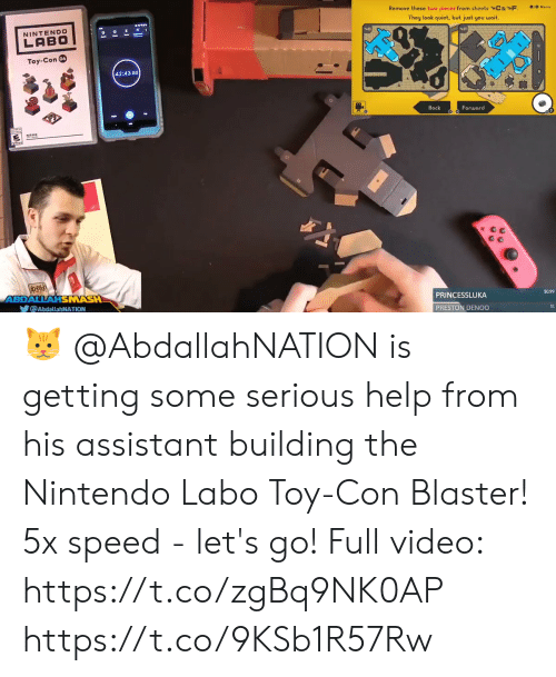 Memes, Nintendo, and Help: Remove these two pieces from sheots C&*F. jo Menu  They look quiot, but just you woit.  NINTENDO  LABO  04  Toy-Con  42:43 80  Back  Forward  $0.99  PRINCESSLUKA  HSNASH  ゾ@AbdallahNATION  PRESTON DENOO 🐱 @AbdallahNATION is getting some serious help from his assistant building the Nintendo Labo Toy-Con Blaster! 5x speed - let's go!  Full video: https://t.co/zgBq9NK0AP https://t.co/9KSb1R57Rw
