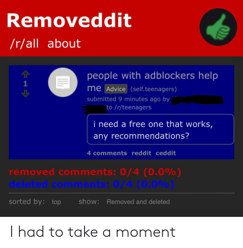 Removeddit Rall About People With Adblockers Help 1 Me Advice