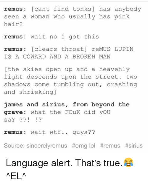 Memes, 🤖, and Descendants: remus cant find tonks has anybody  seen a woman who usually has pink  hair?  remus wait no i got this  remus clears throat re MUS LUPIN  IS A COWARD AND A BROKEN MAN  the skies open up and a heavenly  light descends upon the street two  shadows come tumbling out  crashing  and shrieking  james and sirius, from beyond the  grave what the FCuK did yoU  saY  remus wait wtf  guys?  Source: sincerely remus t omg lol remus Language alert.  That's true.😂 ^EL^