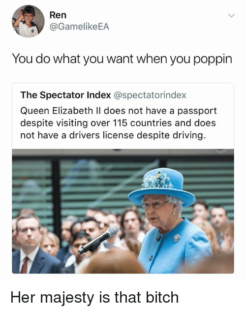 Bitch, Driving, and Queen Elizabeth: Ren  @GamelikeEA  You do what you want when you poppin  The Spectator Index @spectatorindex  Queen Elizabeth ll does not have a passport  despite visiting over 115 countries and does  not have a drivers license despite driving Her majesty is that bitch