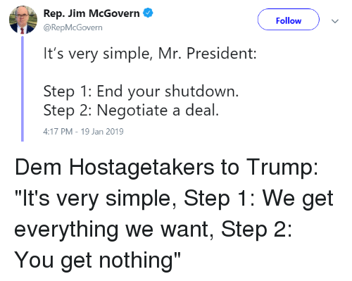 Rep Jim McGovern Follow It's Very Simple Mr President Step 1