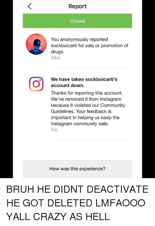 report closed you anonymously reported sockboicarti for sale or