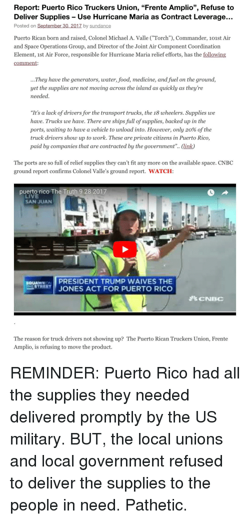 Report Puerto Rico Truckers Union Frente Amplio Refuse to