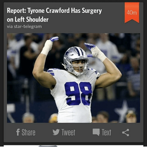 Memes  F F A  And Telegram Report Tyrone Crawford Has Surgery On Left Shoulder