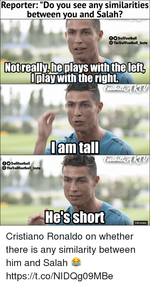 Cristiano Ronaldo, Memes, and Ronaldo: Reporter:. Do you see any similarities  between you and Salah?  OO TrollFootball  TheTrollFootball Insta  Notreally,he plays with theleft,  play with the right.  am tal  OOTrollFootball  TheTrollFootballInsta  -  Hes short  Full screen Cristiano Ronaldo on whether there is any similarity between him and Salah 😂 https://t.co/NIDQg09MBe