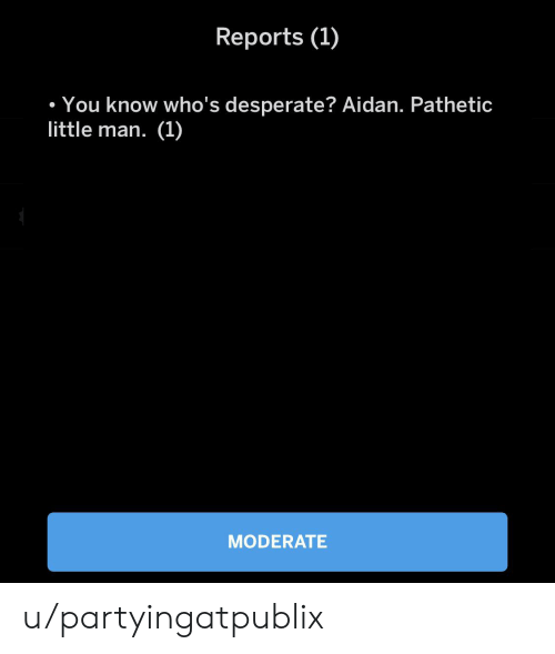 Desperate, Man, and Little Man: Reports (1)  . You know who's desperate? Aidan. Pathetic  little man. (1)  MODERATE u/partyingatpublix