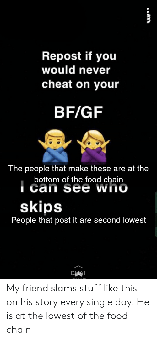 Repost if You Would Never Cheat on Your BFGF the People That