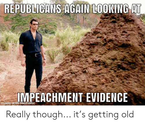 Old, Advice Animals, and Looking: REPUBLICANS AGAIN LOOKING AT  IMPEACHMENT EVIDENCE  made with mematic Really though... it's getting old