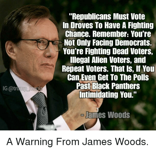 """Alien, Black, and Panthers: """"Republicans Must Vote  In Droves To Have A Fighting  Chance. Remember: You're  Not Only Facing Democrats  You're Fighting Dead Voters,  lIlegal Alien Voters, and  Repeat Voters. That ls, If You  Can Even Get To The Polls  Past Black Panthers  Intimidating You.""""  G @tump mania  ames Woods"""
