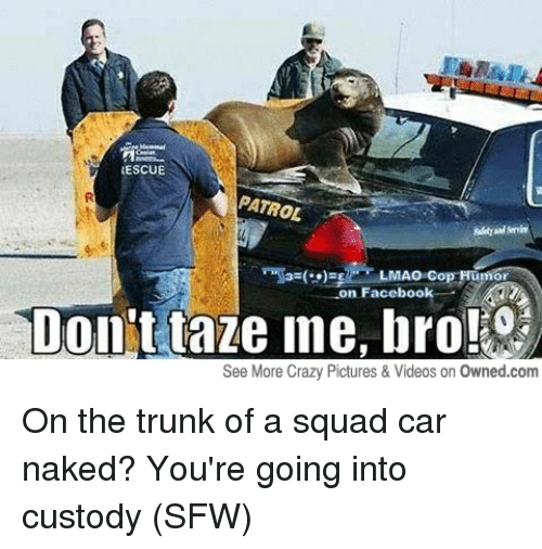 Cars, Crazy, and Facebook: RESCUE  PATROL  Cop Humor  n Facebook  Don't taze me, bro!  See More Crazy Pictures & Videos on Owned.com On the trunk of a squad car naked? You're going into custody (SFW)