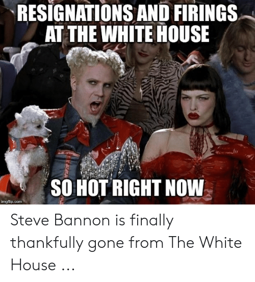 White House, House, and White: RESIGNATIONS AND FIRINGS  AT THE WHITE HOUSE  SO HOT RIGHT NOW  mgflip.com Steve Bannon is finally thankfully gone from The White House ...