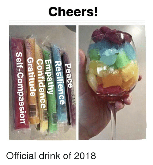 Confidence, Compassion, and Resilience: Resilience  Confidence  Self-Compassion  Gratitude <p>Official drink of 2018</p>