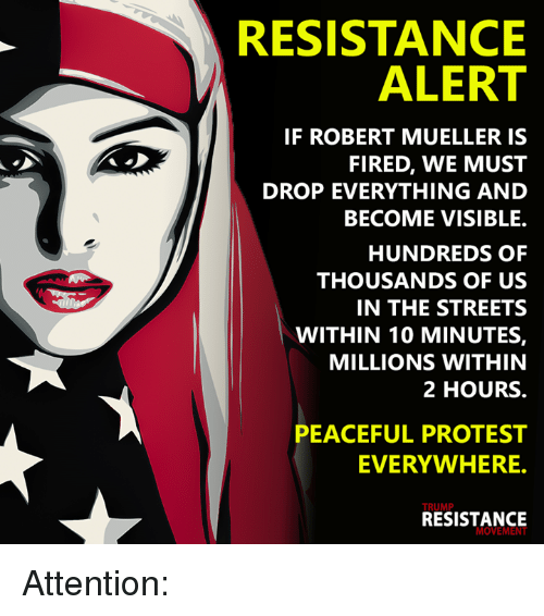 Memes, Protest, and Streets: RESISTANCE  ALERT  IF ROBERT MUELLER IS  FIRED, WE MUST  DROP EVERYTHING AND  BECOME VISIBLE.  HUNDREDS OF  THOUSANDS OF US  IN THE STREETS  WITHIN 10 MINUTES,  MILLIONS WITHIN  2 HOURS.  PEACEFUL PROTEST  EVERYWHERE.  TRUMP  RESISTANCE  MOVEMEN Attention: