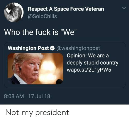 "Respect, Fuck, and Space: Respect A Space Force Veteran  @SoloChills  Who the fuck is ""We""  Washington Post @washingtonpost  Opinion: We are a  deeply stupid country  wapo.st/2L1yPW5  8:08 AM 17 Jul 18 Not my president"