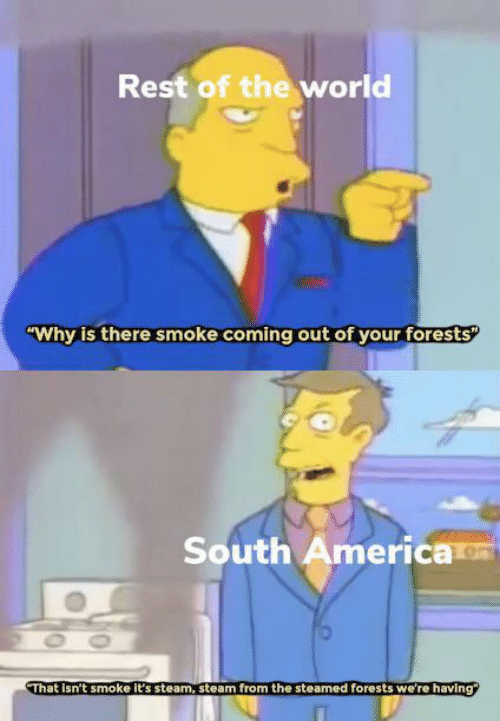 """America, Steam, and World: Rest of the world  """"Why is there smoke coming out of your forests  South America  OO  That Isn't smoke it's steam, steam from the steamed forests we're having"""