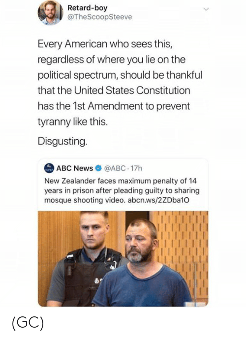 Abc, Memes, and News: Retard-boy  @TheScoopSteeve  Every American who sees this,  regardless of where you lie on the  political spectrum, should be thankful  that the United States Constitution  has the 1st Amendment to prevent  tyranny like this.  Disgusting  ABC News@ABC 17h  New Zealander faces maximum penalty of 14  years in prison after pleading guilty to sharing  mosque shooting video. abcn.ws/2ZDba10 (GC)