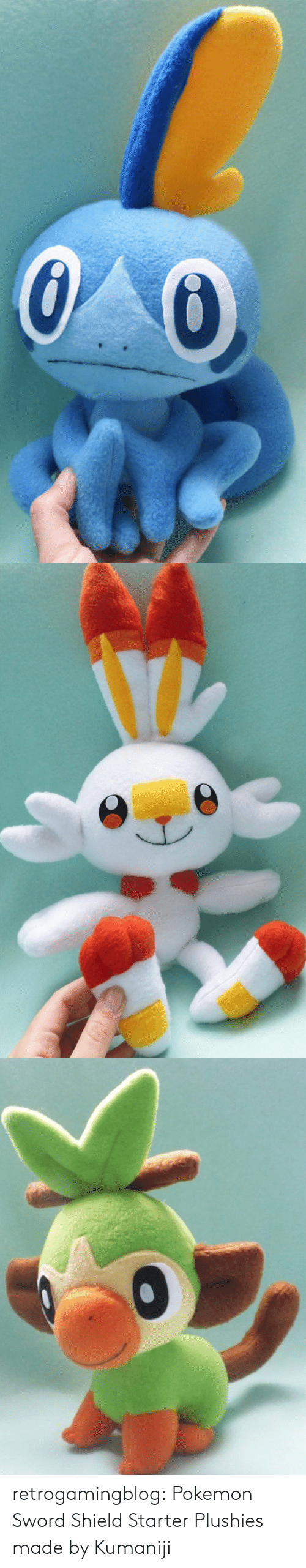 Pokemon, Tumblr, and Blog: retrogamingblog:  Pokemon Sword  Shield Starter Plushies made by Kumaniji