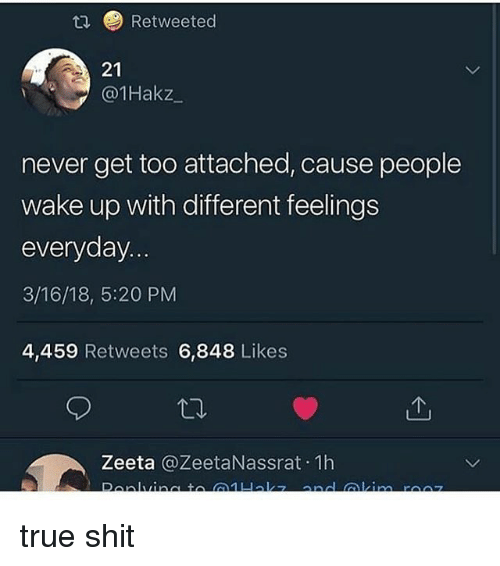 Memes, Shit, and True: Retweeted  21  @1Hakz  never get too attached, cause people  wake up with different feelings  everyday  3/16/18, 5:20 PM  4,459 Retweets 6,848 Likes  Zeeta @ZeetaNassrat 1h true shit