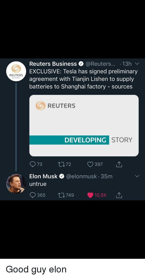 Reuters Business 13h V Exclusive Tesla Has Signed Preliminary