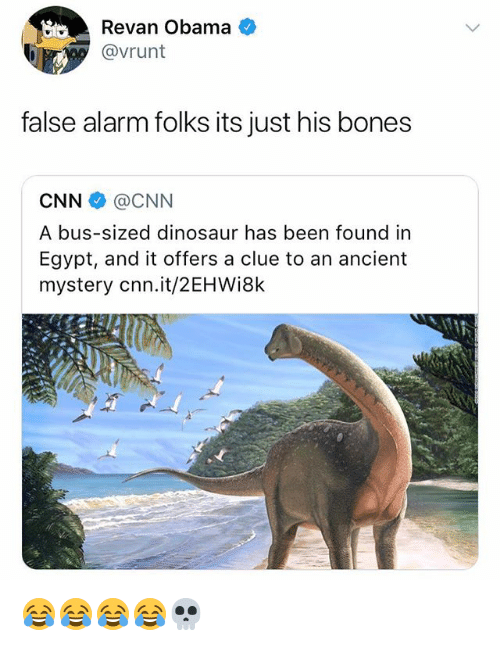 Bones, cnn.com, and Dinosaur: Revan Obama  @vrunt  false alarm folks its just his bones  CNN@CNN  A bus-sized dinosaur has been found in  Egypt, and it offers a clue to an ancient  mystery cnn.it/2EHWi8k 😂😂😂😂💀