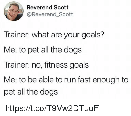 Dogs, Goals, and Memes: Reverend Scott  @Reverend_Scott  Trainer: what are your goals?  Me: to pet all the dogs  Trainer: no, fitness goals  Me: to be able to run fast enough to  pet all the dogs https://t.co/T9Vw2DTuuF