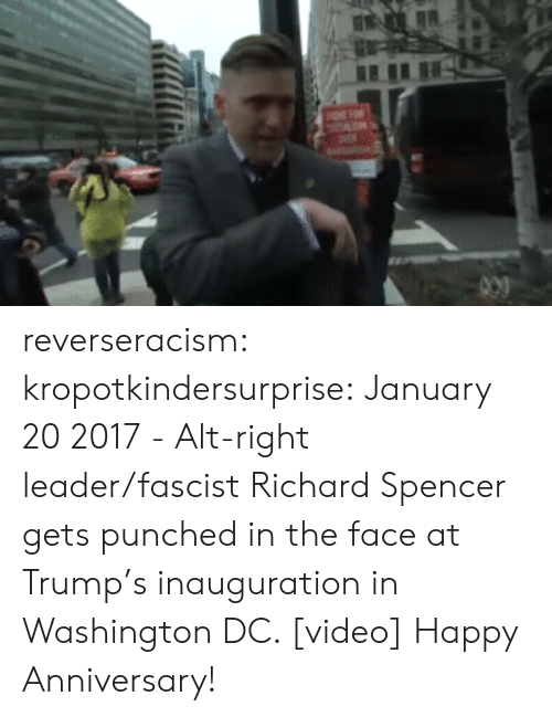 Tumblr, Twitter, and Blog: reverseracism: kropotkindersurprise:  January 20 2017 - Alt-right leader/fascist Richard Spencer gets punched in the face at Trump's inauguration in Washington DC. [video]  Happy Anniversary!