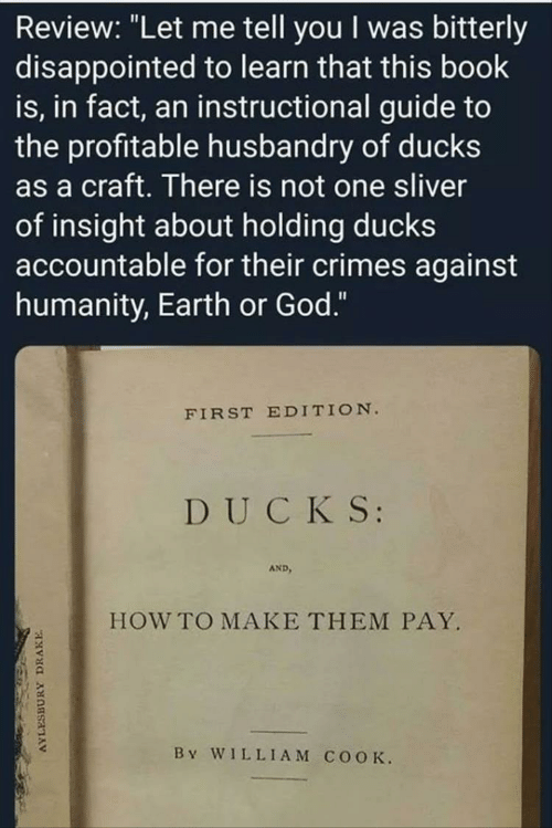 "Disappointed, Drake, and God: Review: ""Let me tell you I was bitterly  disappointed to learn that this book  is, in fact, an instructional guide to  the profitable husbandry of ducks  as a craft. There is not one sliver  of insight about holding ducks  accountable for their crimes against  humanity, Earth or God.""  FIRST EDITION.  DUCKS  AND  HOW TO MAKE THEM PAY.  By WILLIAM COOK  AYLESBURY  DRAKE"