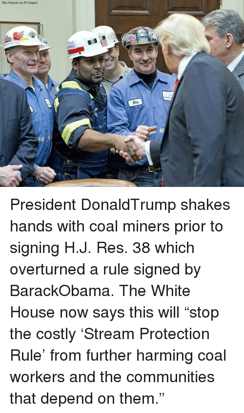 """Memes, White House, and House: (Rex Features  via AP lmages)  ALLEY  Mike President DonaldTrump shakes hands with coal miners prior to signing H.J. Res. 38 which overturned a rule signed by BarackObama. The White House now says this will """"stop the costly 'Stream Protection Rule' from further harming coal workers and the communities that depend on them."""""""