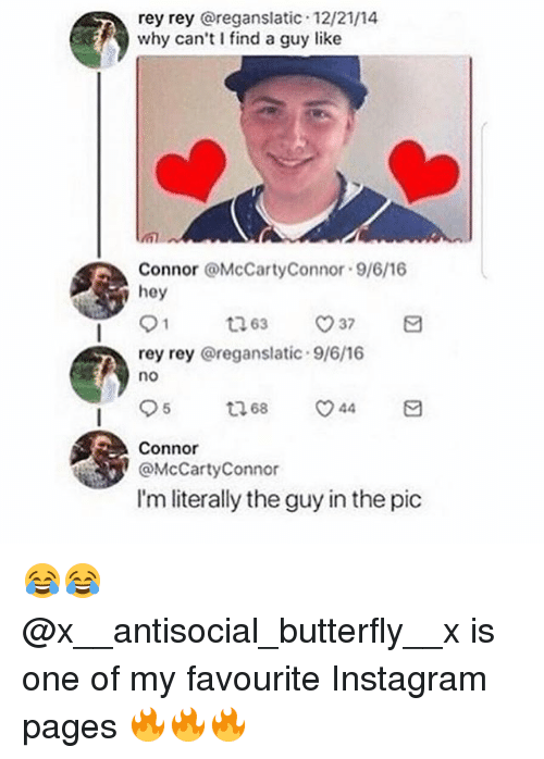 Instagram, Rey, and Butterfly: rey rey @reganslatic 12/21/14  why can't I find a guy like  Connor @McCartyConnor 9/6/16  hey  rey rey @reganslatic 9/6/16  no  Connor  @McCartyConnor  I'm literally the guy in the pic 😂😂 @x__antisocial_butterfly__x is one of my favourite Instagram pages 🔥🔥🔥