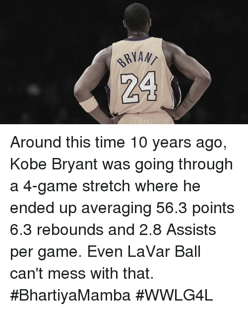 Memes, 🤖, and Stretch: RIAN  24 Around this time 10 years ago, Kobe Bryant was going through a 4-game stretch where he ended up averaging 56.3 points 6.3 rebounds and 2.8 Assists per game.  Even LaVar Ball can't mess with that.  #BhartiyaMamba #WWLG4L