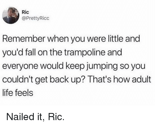Fall, Life, and Memes: Ric  @PrettyRicc  Remember when you were little and  you'd fall on the trampoline and  everyone would keep jumping so you  couldn't get back up? That's how adult  life feels Nailed it, Ric.